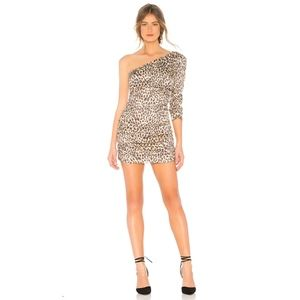 MAJORELLE Roberta Tan Leopard Mini Dress